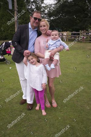 27th Celebrity Cricket Day On Behalf of Wellbeing of Woman at the Home of Sir Victor Blank Near Oxford Richard Desmond with His Wife Joy Canfield and Children Angel and Valentine
