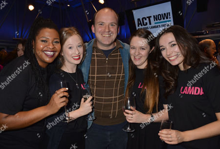 Lamda ( the London Academy of Music & Dramatic Art) Hosts A Reception at the National Theatre to Launch Act Now! – A Campaign to Raise the Remaining Funds Needed to Complete Their Redevelopment Project and Secure Lamda's Future Rory Kinnear with Lamda Member's L to R Celeste Dodwell Kayla Miekle Sally O'leary & Bryony Corrigan