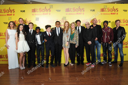 Stock Image of All Stars Film Premiere at the Vue Leicester Square Kimberley Walsh Gamal Toseafa Fleur Houdijk Dominic Herman Day Ashley Jensen Akai Theo Stevenson Amelia Clarkson Director Ben Gregor and Ashley Walters and Kevin Bishop with the Producers
