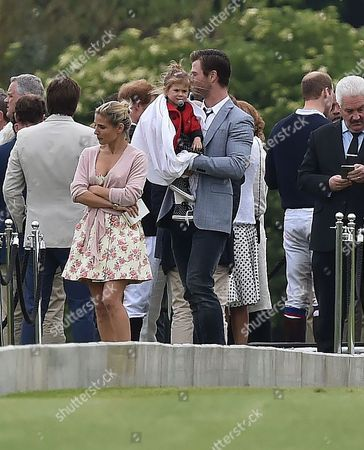 31 05 2015 Audi Polo at Coworth Park Ascot Berkshire Chris Hemsworth and Elsa Pataky and Thier Daughter India Rose Hemsworth