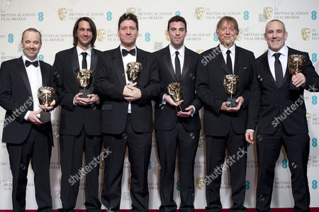 Ee British Academy Film Awards Press Room at the Royal Opera House John Warhurst Lee Walpole Jonathan Allen Mark Paterson Andy Nelson and Simon Hayes Collect the Award For Best Sound For 'Les Miserables'