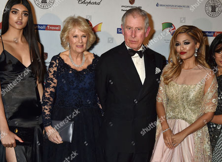 Dinner For the British Asian Trust at the Natural History Museum (royal Rota Daily Mail) Neelam Gill Camilla Duchess of Cornwall and Prince Charles Duke of Cornwall and Tasmin Lucia-khan