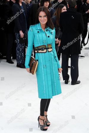 Stock Image of Burberry Autumn Winter Fashion Show Arrivals at the Albert Memorial Kensington Gardens During London Fashion Week Ebru Salli