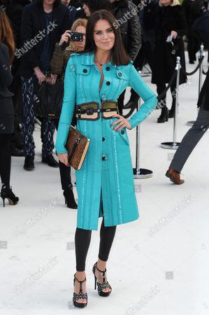 Stock Picture of Burberry Autumn Winter Fashion Show Arrivals at the Albert Memorial Kensington Gardens During London Fashion Week Ebru Salli