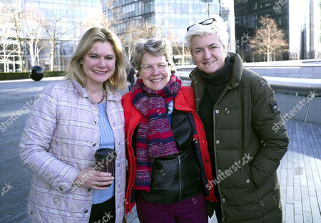 Care International's Walk in Her Shoes in Support of International Women's Day at the Scoop More London Riverside Justine Greening Mp Sandi Toksvig with Her Wife Debbie Toksvig