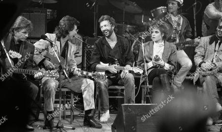 October 1985 Tribute Concert at Limehouse Studios Dave Edmunds George Harrison Eric Clapton Roxanne Cash and Ringo Starr