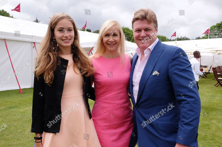 Cartier Queens Cup Final at Smiths Lawn Windsor Great Park Berkshire Rod Barker with His Partner Tania Bryer and Her Daughter Natasha Moufarrige