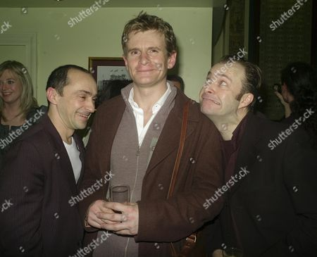 Cast Change Curtain Call For the 39 Steps at the Criterion Theatre Piccadilly Circus Simon Gregor (clown) Charles Edwards (hannay) and Rupert Degas (clown)