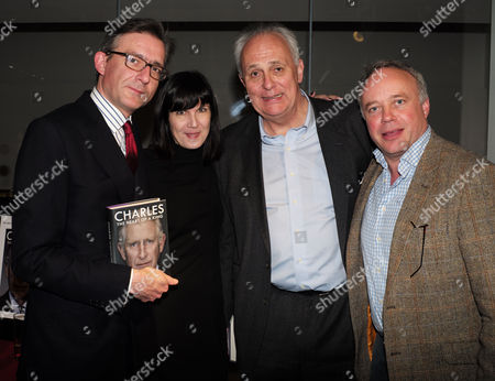 Catherine Mayer ' Charles Heart of A King' Book Launch Party at Foyles Book Shop Charing Cross Road London Carl Newns Head of Press at the Foreign Office Catherine Mayer Lord Mark Malloch Brown & Major General Andy Salmon