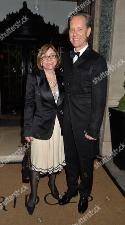 Dame Joan Collins Damehood Party at Claridges Ballroom Mayfair London Richard E Grant and His Wife Joan Washington