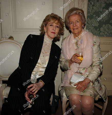 Book Party to Celebrate the Reprint of the Novel 'Wigs On the Green' at Claridges Hotel Mayfair Patricia Hodge with Debo Deborah Cavendish Duchess of Devonshire