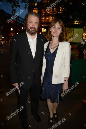 'Infamous' First Night Afterparty at Leon De Bruxelles Cambridge Circus Roger Allam with His Wife Rebecca Saire