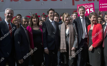 Ed Miliband and His Labour Shadow Cabinet at the Unveiling of Their Political Party's Election Manifesto at Orbit Queen Elizabeth Olympic Park Stratford London Ed Balls Mp Ivan Lewis Mp Sadiq Khan Mp Rachel Reeves Mp Ed Miliband Mp Leader of the Labour Party Harriet Harman Mp Tristram Hunt Mp Yvette Cooper Mp Douglas Alexander Mp Chuka Umunna Mp Caroline Flint Mp