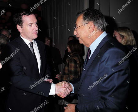 Evening Standard Progress 1000 Reception at Crossrail Station Canary Wharf George Osborne and Sir George Iacobescu