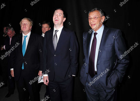 Evening Standard Progress 1000 Reception at Crossrail Station Canary Wharf Boris Johnson George Osborne and Sir George Iacobescu
