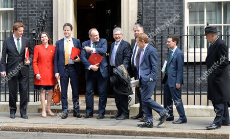 Final Cabinet Meeting of This Government Nick Clegg and His Lib Dem Cabinet Members Pose Up On the Doorstep of Number 10 Downing Street On Their Way in to the Last Joint Cabinet Meeting of This Parliament David Laws Danny Alexander Jo Swinson Nick Clegg Ed Davey Don Foster Alistair Carmichael Dr Vince Cable