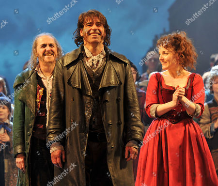 Final Performance of 'Oliver' at the Theatre Royal Drury Lane Curtain Call - Griff Rhys Jones (fagin) Steven Hartley (bill Sikes) and Kerry Ellis (nancy)