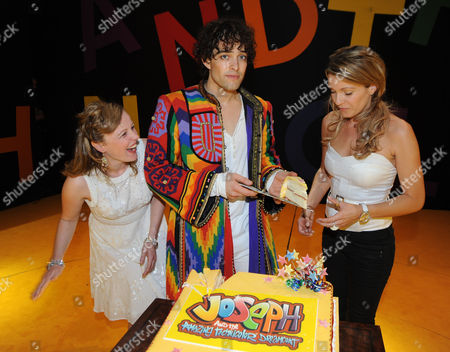 Stock Picture of First Anniversary of 'Joseph and the Amazing Technicolor Dreamcoat' at the Adelphi Theatre the Strand Lee Mead with Jenna Lee-james and Zoe Smith