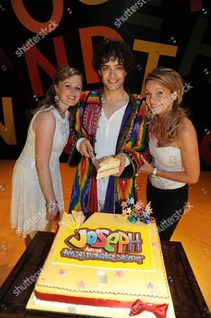 Stock Photo of First Anniversary of 'Joseph and the Amazing Technicolor Dreamcoat' at the Adelphi Theatre the Strand Lee Mead with Jenna Lee-james and Zoe Smith