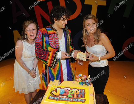 Stock Image of First Anniversary of 'Joseph and the Amazing Technicolor Dreamcoat' at the Adelphi Theatre the Strand Lee Mead with Jenna Lee-james and Zoe Smith