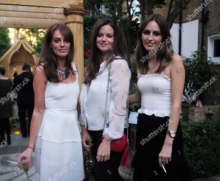 Stock Image of French Sole and Birchbox Summer Picnic at Number 16 Conservatory and Garden Sumner Place South Kensington West London Lady Violet Manners Lady Natasha Rufus Isaacs & Lady Alice Manners