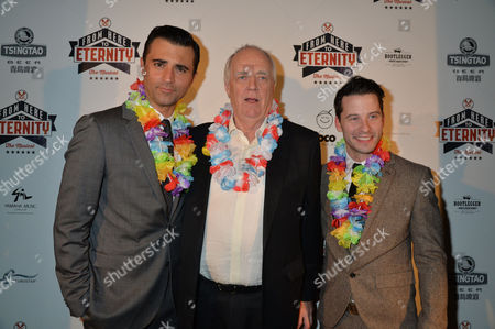 From Here to Eternity Press Night at the Shaftesbury Theatre and Freemasons Hall Darius Campbell & Robert Lonsdale with Sir Tim Rice
