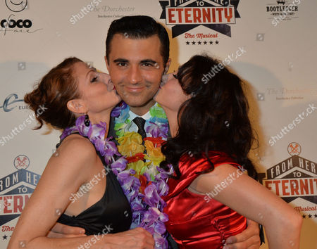 Stock Image of From Here to Eternity Press Night at the Shaftesbury Theatre and Freemasons Hall Darius Campbel with Siubhan Harrison & Rebecca Thornhill