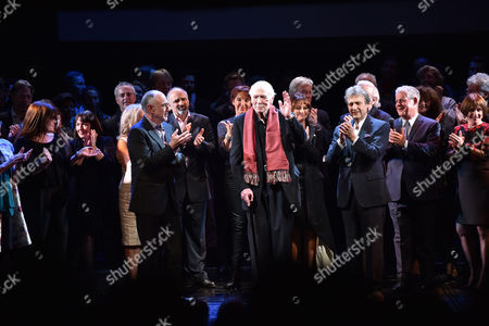 'Les Miserables' Musical 30th Anniversary at the Queen's Theatre Shaftesbury Avenue London Members of the Original Cast Join Current Cast Members and Creative Cast On Stage For the Finale Writer Herbie Kretzmer ( Wearing Scarf) Joined by Claude-michel Schonberg and Alain Boublil with Cameron Mackintosh On Stage to Celebrate His 90th Birthday