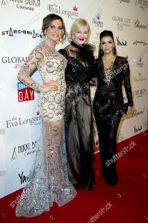 Global Gift Gala at the Carlton Hotel During the 66th Cannes Film Festival Ella Krasner and Eva Longoria with the Dress Designer (c)