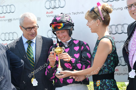 Glorious Goodwood Horse Racing Ladies Day at Goodwood West Sussex Darcey Bussell Presents Philippa Holland with A Cup