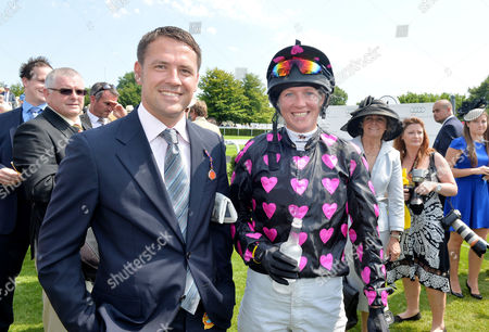 Glorious Goodwood Horse Racing Ladies Day at Goodwood West Sussex Winner Philippa Holland with the Horse Owner Michael Owen