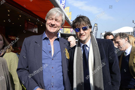Stock Photo of Cheltenham Festival 2014 at Cheltenham Race Course Gloucestershire - Gold Cup Day Bunter Somerset the Marquess of Worcester with His Brother Lord Johnson Somerset