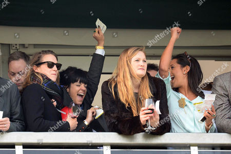 Cheltenham Festival 2014 at Cheltenham Race Course Gloucestershire - Gold Cup Day Lily Allen Watches the Racing From the Balcony with Her Husband Sam Cooper and Friends and Celebrates Winning A Bet