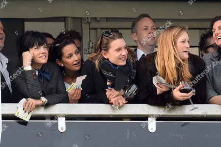 Cheltenham Festival 2014 at Cheltenham Race Course Gloucestershire - Gold Cup Day Lily Allen Watches the Racing From the Balcony with Her Husband Sam Cooper and Friends