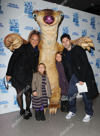 Ice Age Live World Premiere at Wembley Angela Griffin with Her Husband Jason Milligan and Daughters Tallulah and Melissa