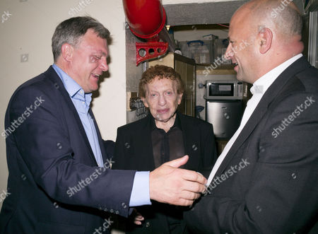 Ed Balls and Lord Jonathan Mendlesohn Meet Jackie Mason Backstage After Seeing His Show at Jackie Mason at the Adelphi Theatre in the Strand