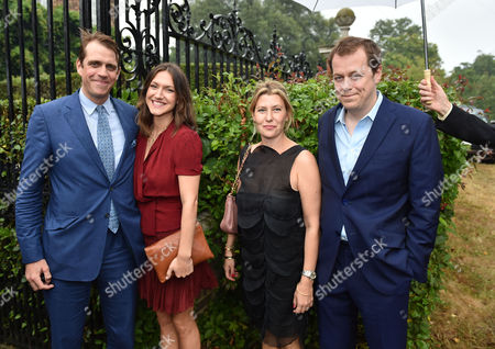 Lady Annabel Goldsmith Summer Party at Her Home Richmond Ben Elliot with His Wife Mary-clare Elliot and Tom Parker Bowles with His Wife Sara Buys