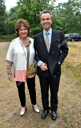 Stock Image of Lady Annabel Goldsmith Summer Party at Her Home Richmond Lady Elizabeth Ashcombe with Her Son Henry Dent-brocklehurst