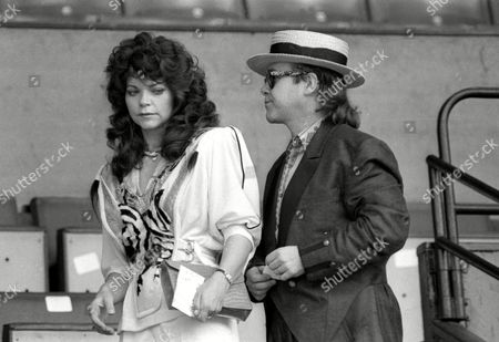 Live Aid at Wembley Arena Elton John with His Wife Renate Blauel