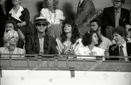 Live Aid at Wembley Arena Paula Yates Elton John with His Wife Renate Blauel and George Michael