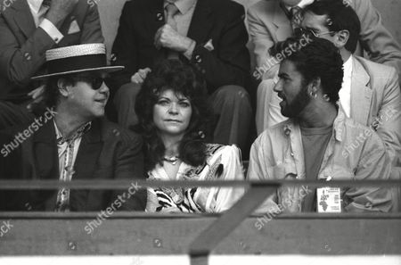 Live Aid at Wembley Arena Elton John with His Wife Renate Blauel and George Michael