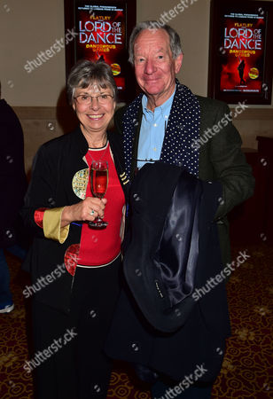 Stock Photo of Gala Night For Michael Flatley's Lord of the Dance Dangerous Games at the Dominion Theatre Tottenham Court Road London Michael Buerk and Wife Christine Buerk