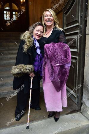 Stock Photo of Lynda Bellingham Service of Thanksgiving at St Stephen's Church Walbrook London Sylvia Syms & Amanda Redman