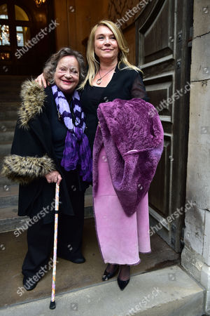 Stock Image of Lynda Bellingham Service of Thanksgiving at St Stephen's Church Walbrook London Sylvia Syms & Amanda Redman