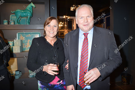 Nicky Haslam at Home with Oka A Party to Launch Nicky's Latest Book Folly De Grandeur at Oka Fulham Road West London Adam Boulton and His Wife Anji Hunter