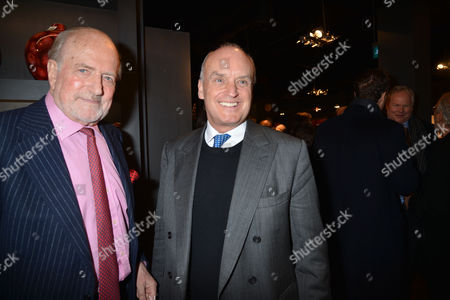 Stock Picture of Nicky Haslam at Home with Oka A Party to Launch Nicky's Latest Book Folly De Grandeur at Oka Fulham Road West London Claus Von Bulow & and Nicolas Coleridge