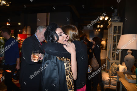 Nicky Haslam at Home with Oka A Party to Launch Nicky's Latest Book Folly De Grandeur at Oka Fulham Road West London Nancy Dell'olio with Anji Hunter