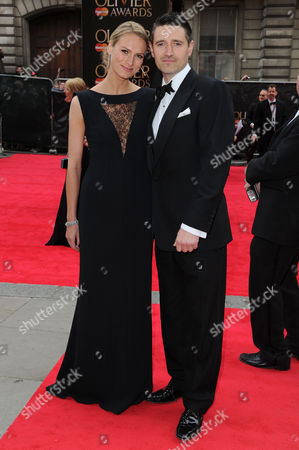 Olivier Theatre Awards Red Carpet Arrivals at the Royal Opera House Tom Chambers with His Wife Clare Harding