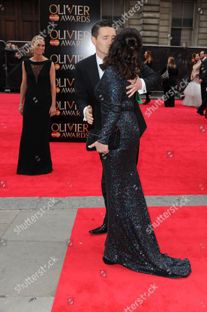 Olivier Theatre Awards Red Carpet Arrivals at the Royal Opera House Tom Chambers with His Wife Clare Harding and Arlene Phillips