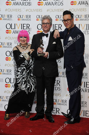 Laurence Olivier Theatre Awards 2015 Press Room at the Royal Opera House Matthew Byam Shaw with Zandra Rhodes and Gok Wan